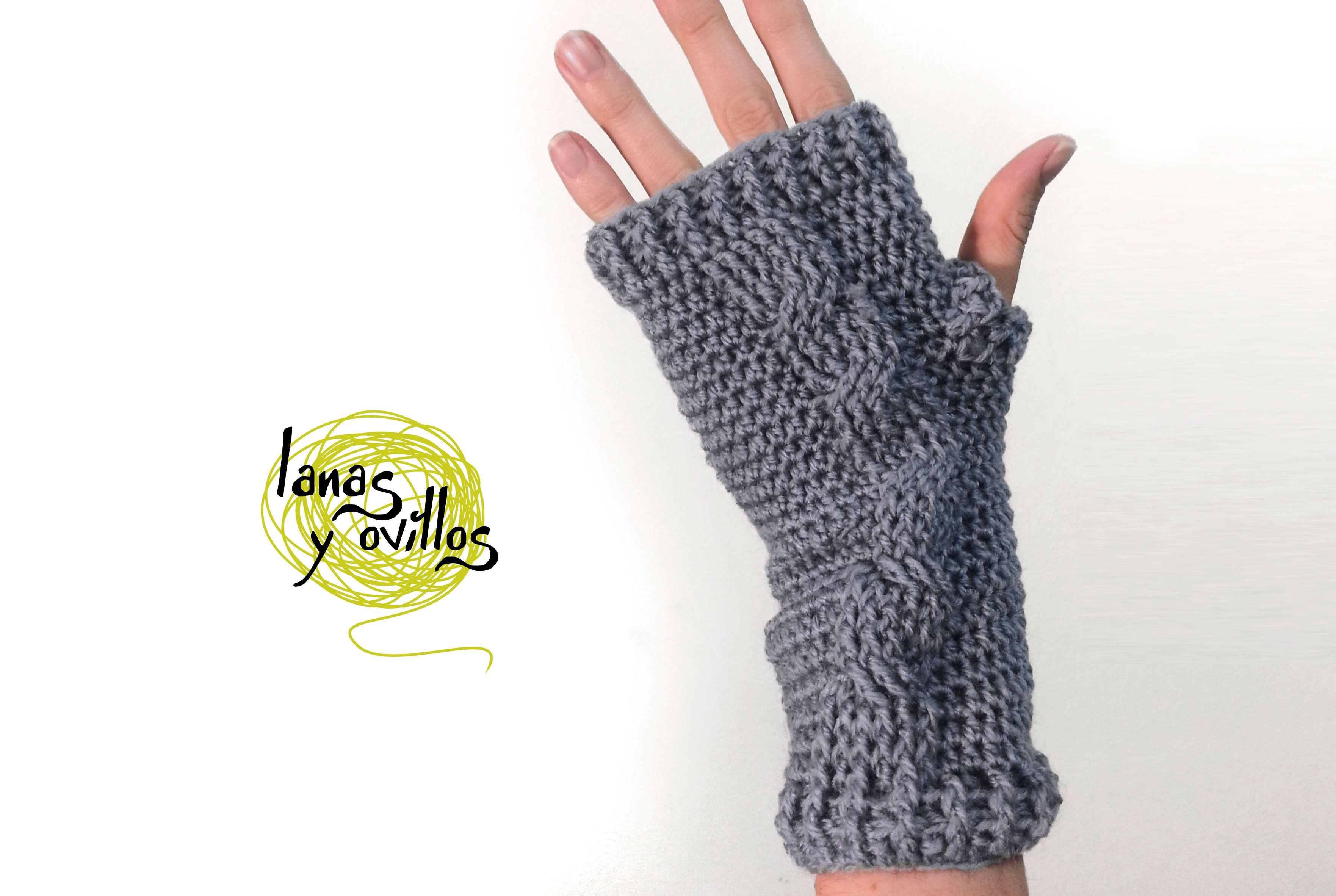 Patrón gratuito crochet de mitones de trenzas | Crochet | Pinterest ...