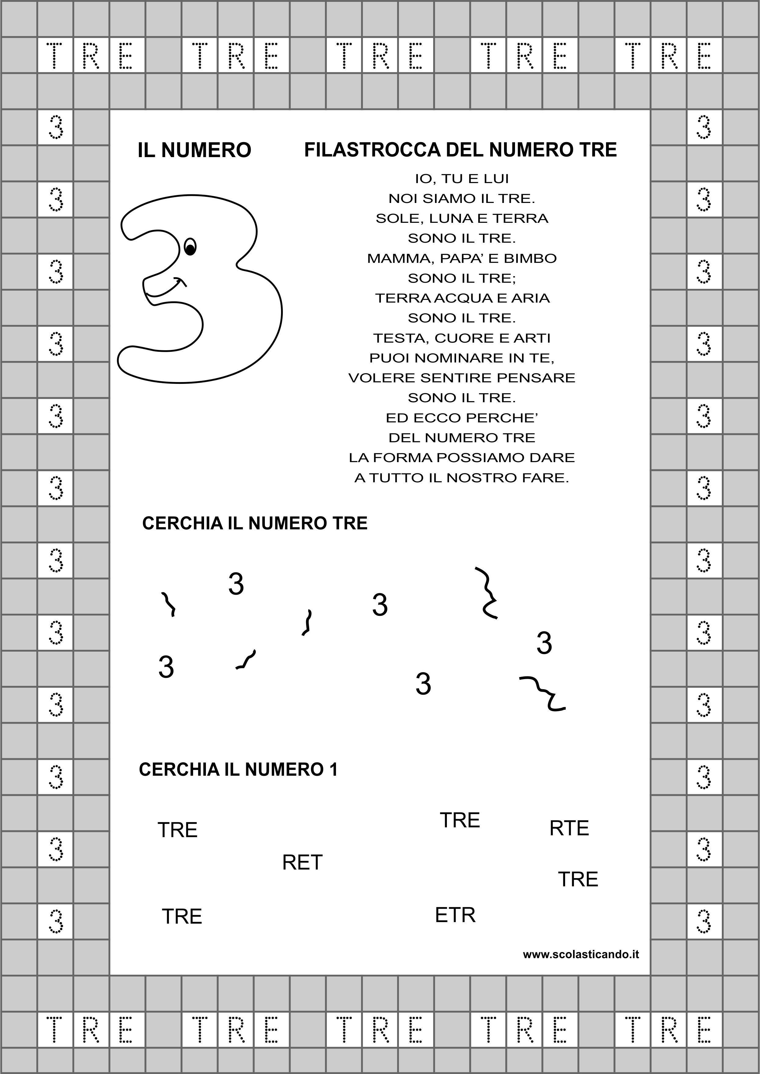 Classe Prima Matematica Il Numero 3 Schede Da Scaricare Matematica