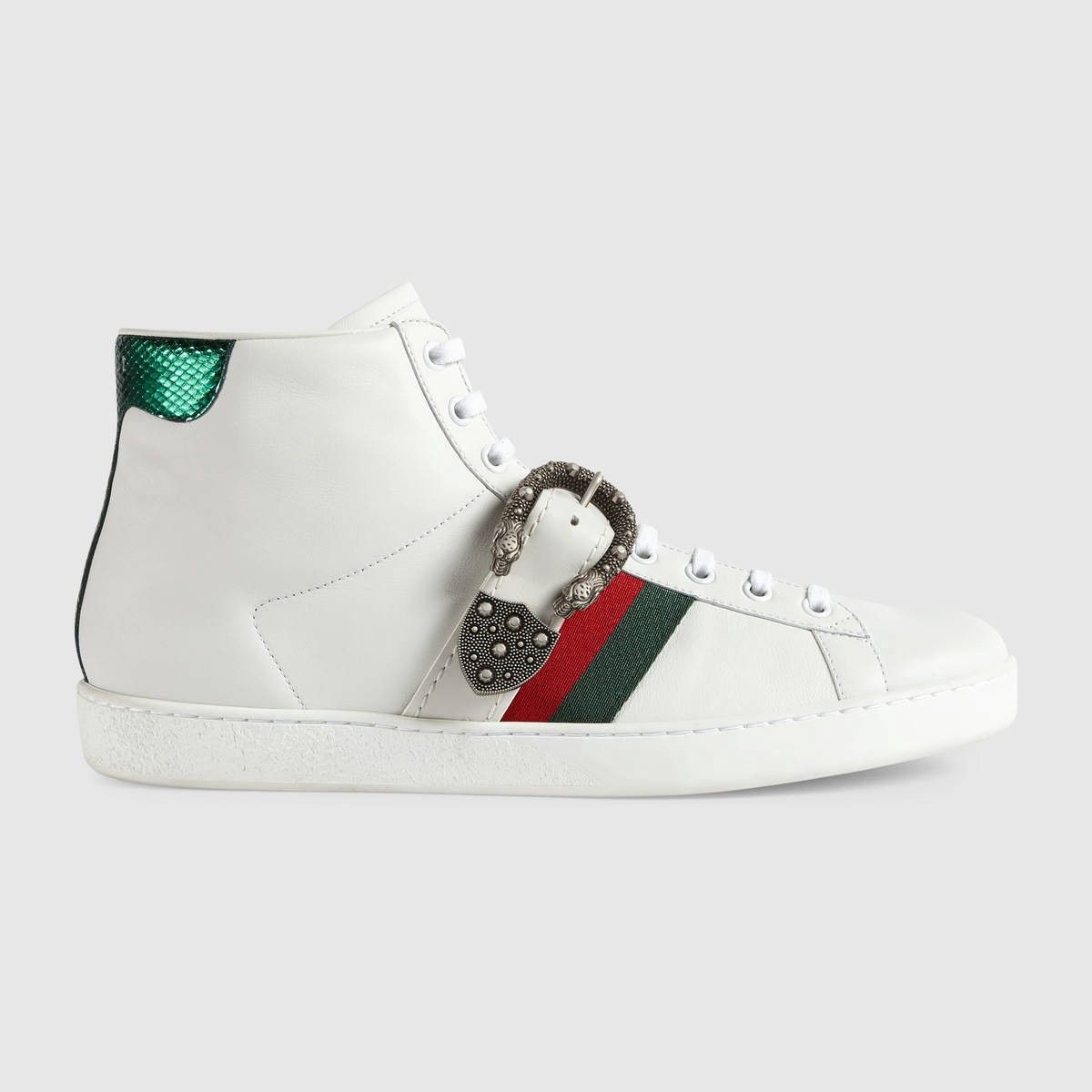 d47edafe1f7 GUCCI Ace high-top sneaker with Dionysus buckle - white leather.  gucci   shoes