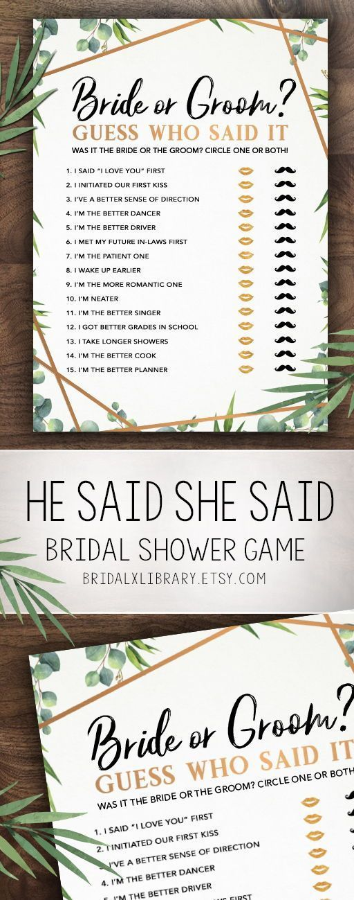 Guess Who Said It Bridal Shower Games Bridal Shower Game Idea Bridal Shower Instant Download Wedding Game Bridal Shower Game Printable