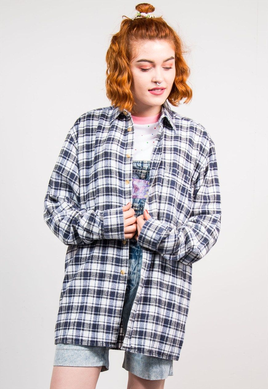 Grunge flannel outfits  us Navy Check Pattern Grunge Oversize Flannel Shirt  Oversized