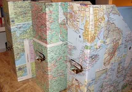 Store your papers in nicely decorated file holders do it yourself store your papers in nicely decorated file holders do it yourself cover them with map craftsarts solutioingenieria Image collections