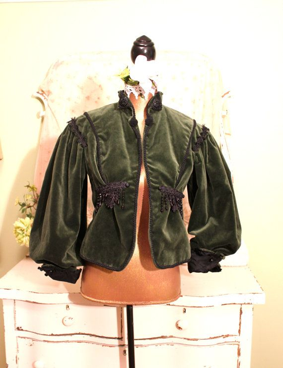 Emerald Green Velvet jacket  Military Style Beaded by SownThreads