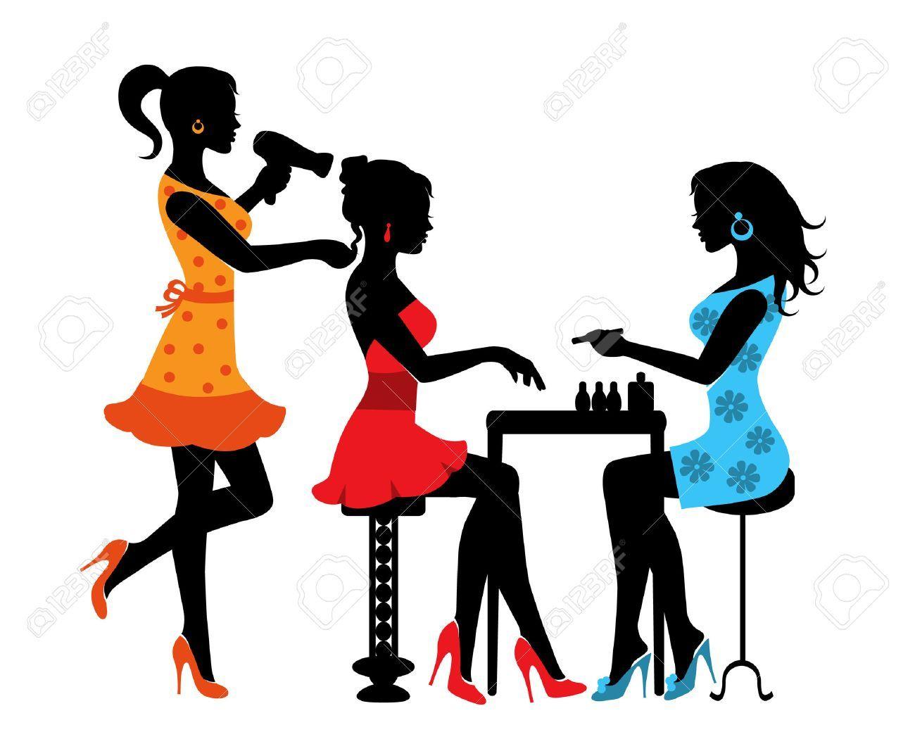 Femme Dans Un Salon De Beauté Avec Une Manucure Et Coiffure