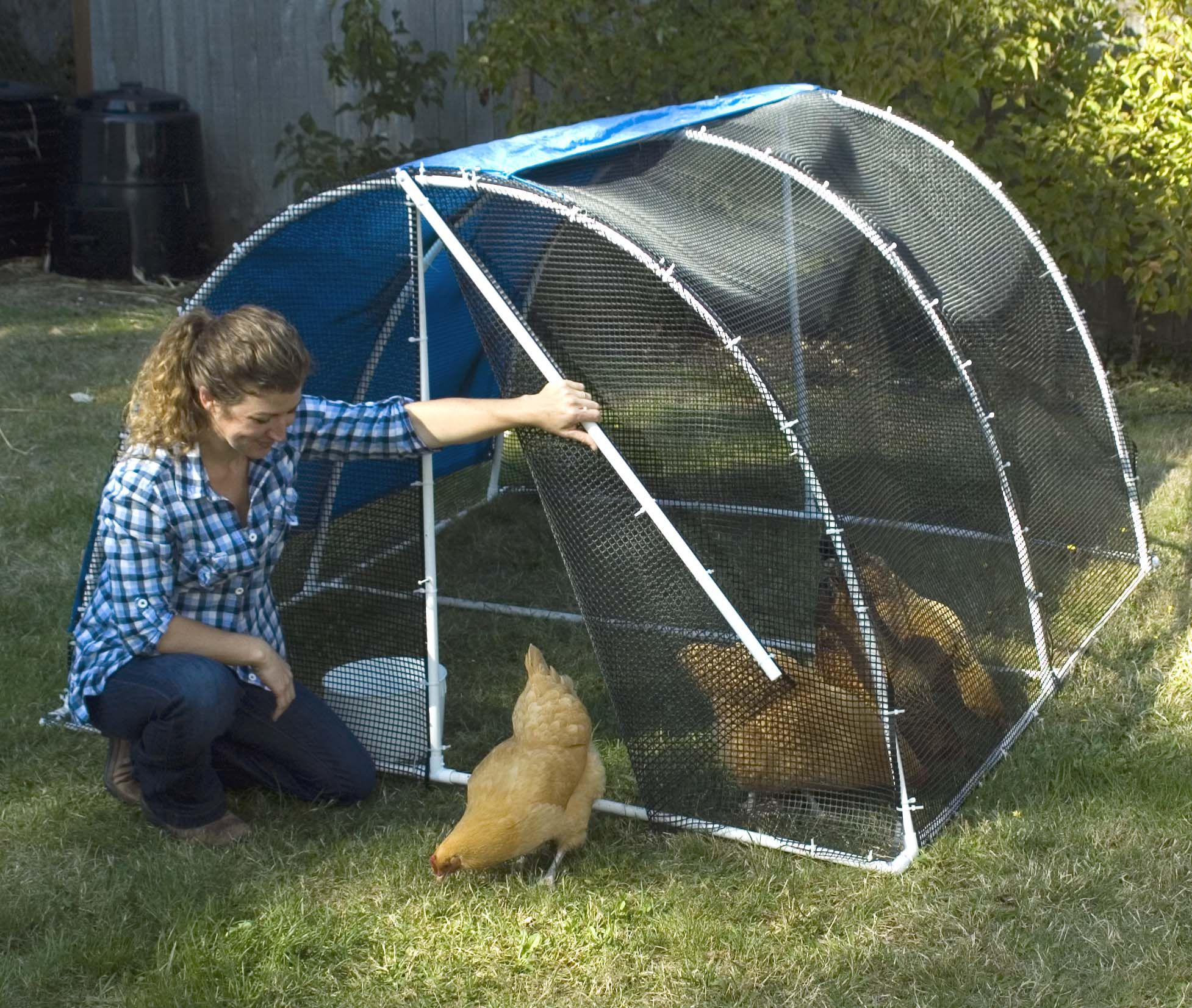 give your chickens a field trip with this light and portable pvc