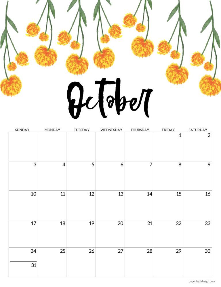 Pictures of 2021 Floral Calendar