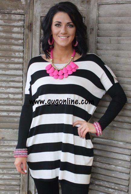 Sweet Stripes Tunic in Black $29.95 www.gugonline.com