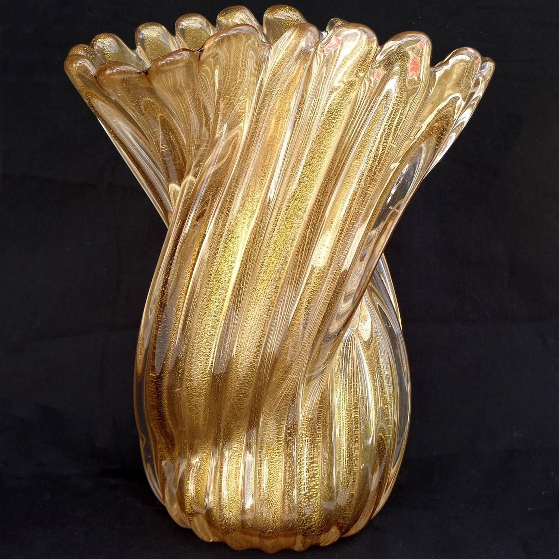 Archimede Seguso Murano Golden Amber Gold Flecks Italian Art Glass ...