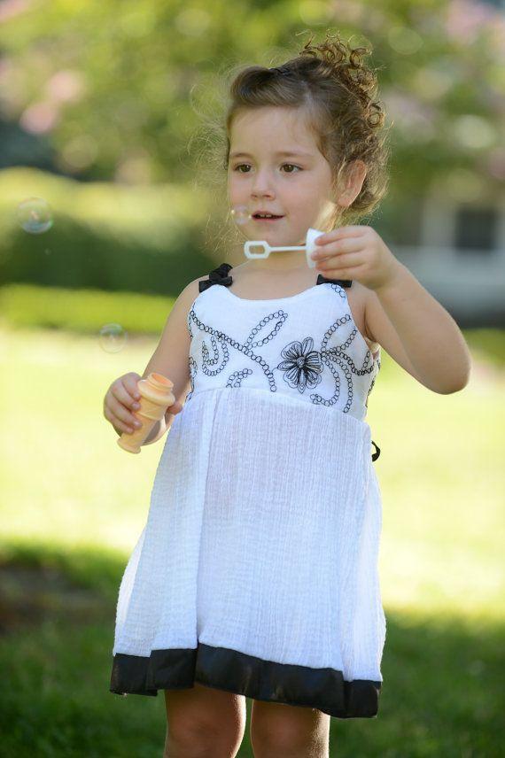 Little Girl Toddler Dress Black White Cotton Satin By Sunjunki