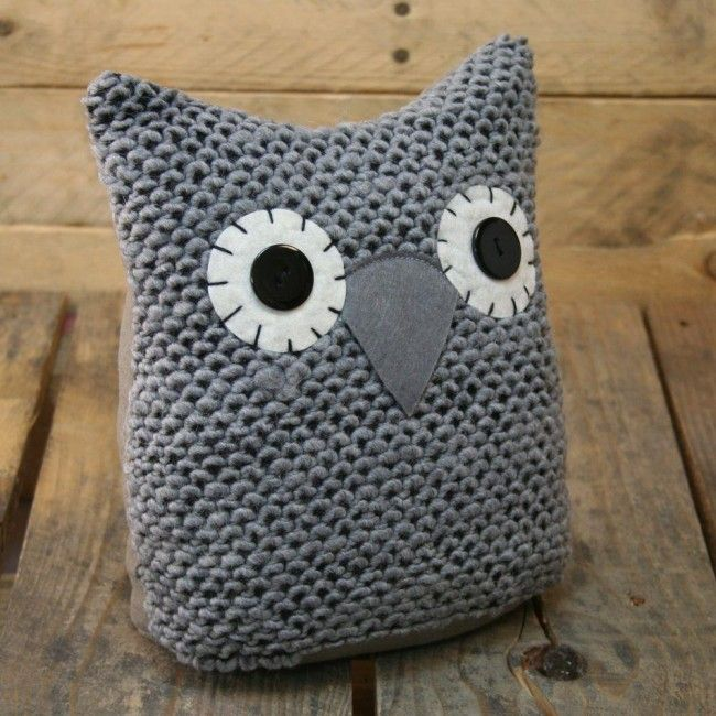 Knitted Owl Doorstop ~ Grey Owl Door Stop