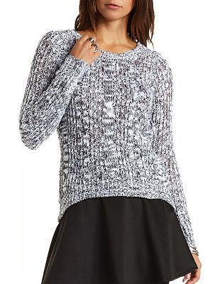 Marled Cable Knit Tunic Sweater: Charlotte Russe
