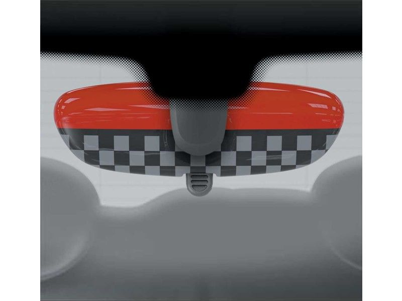 Mini Cooper Rear View Mirror Cover Checkered No Alarm Gen3