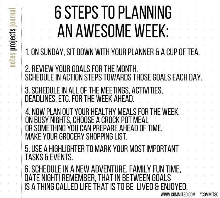 Tips To Making The Most Out Of The Week Ahead... #commit30