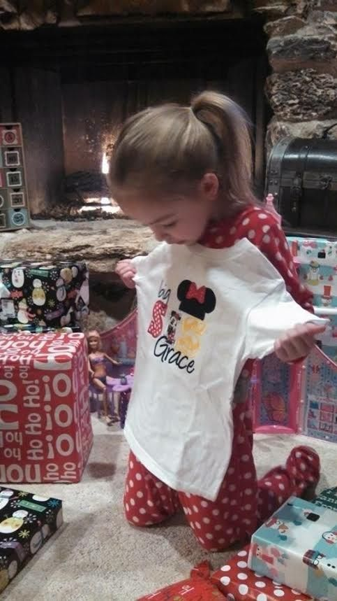 Young girl with Disney t-shirt