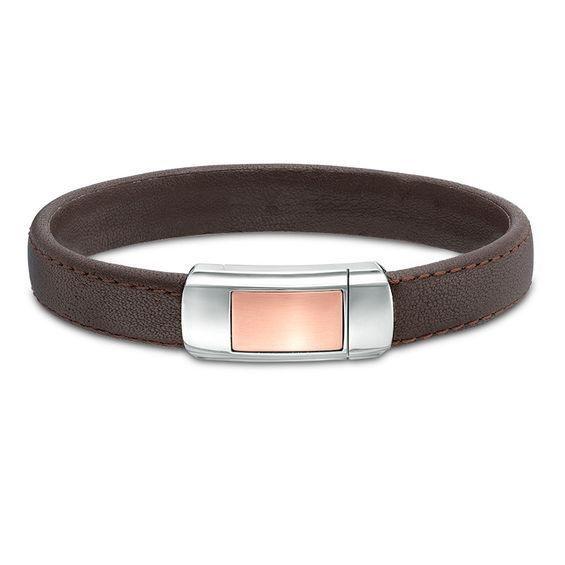 Zales Mens Braided Black Leather Bracelet in Stainless Steel with Black IP - 8.5 bI4Hfeb