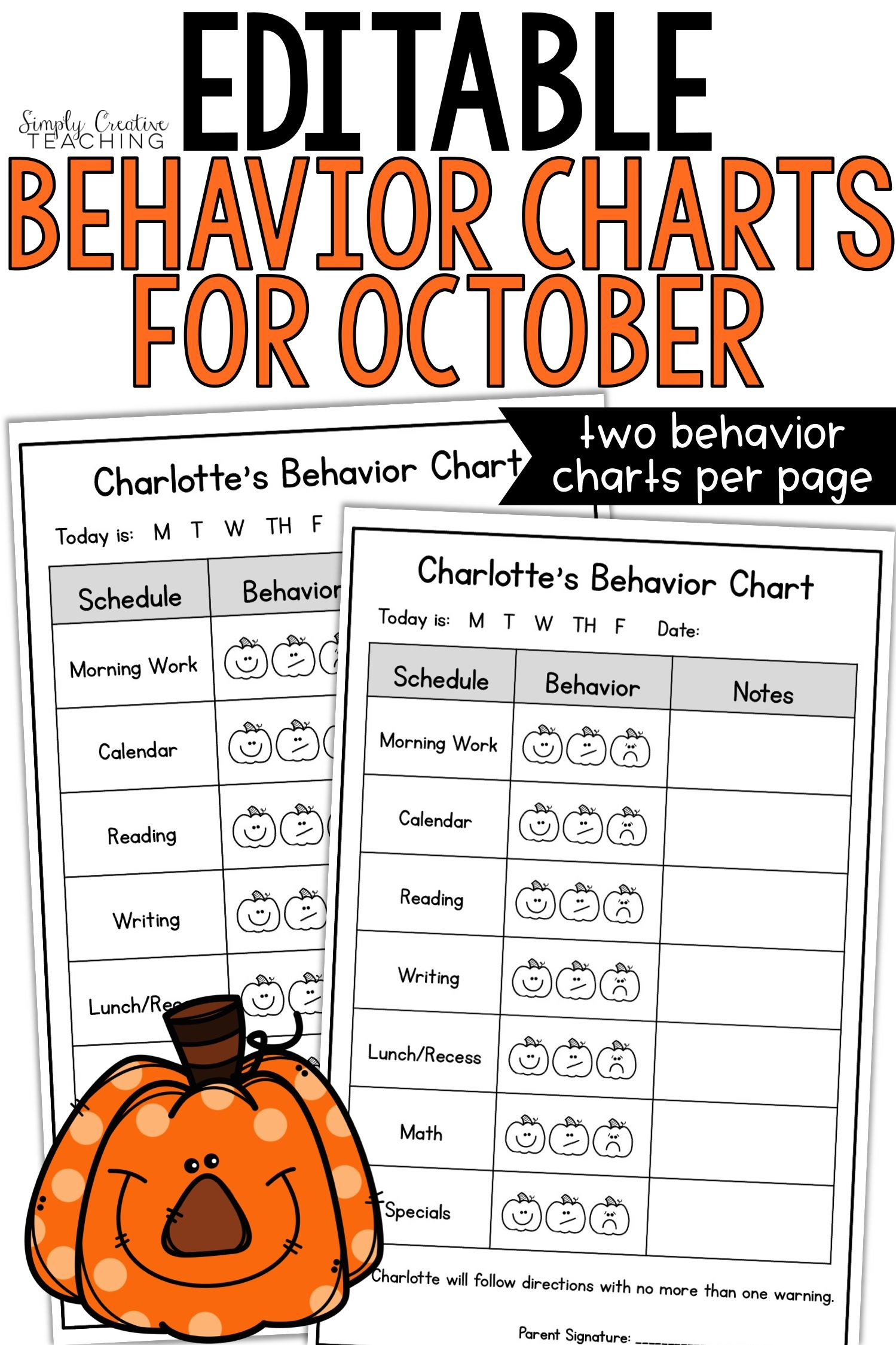These Editable Student Individual Behavior Charts Are Simple Positive Templates That Use Faces For Individual Behavior Chart Behaviour Chart Student Behavior