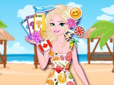 Elsas Summer Vacation: Elsa vai passar as férias de verão em três fabulosos destinos. Junte-se a Elsa e crie look para cada destino. Elsa vai ficar fashion em Paris, estilosa em Nova Iorque e encantadora no Hawaii.