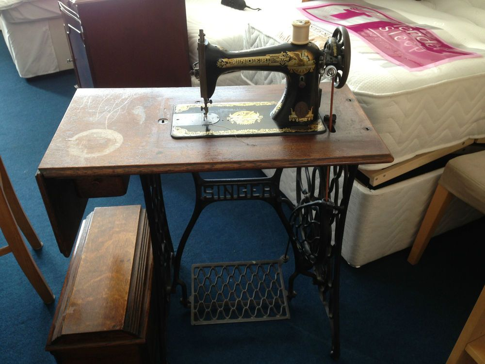 Antique 40 Singer Sewing Machine In Treadle Table Vintage Set New 1902 Singer Treadle Sewing Machine