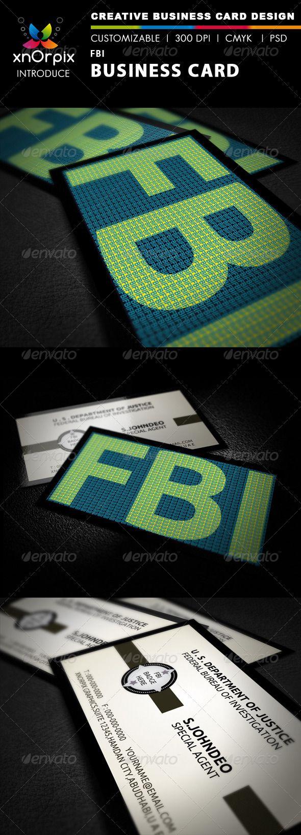 Fbi Business Card Business Card Branding Corporate Business Card Print Templates