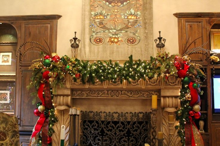 christmas mantel decorating ideas traditional mantel A Floral - christmas decorations for mantels