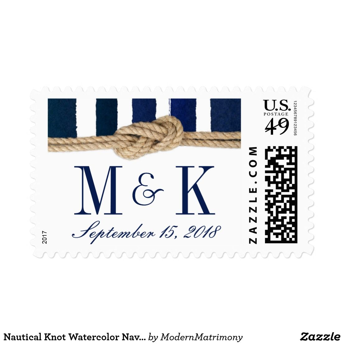Nautical Knot Watercolor Navy Stripes Wedding Postage This nautical ...