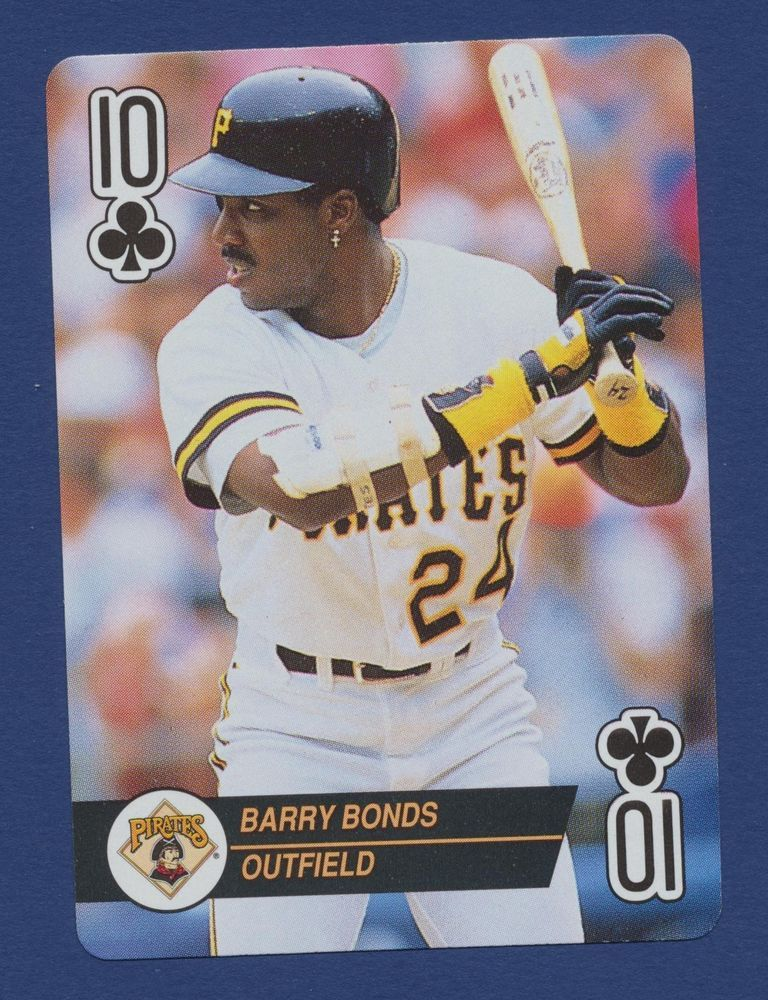 Barry Bonds Pirates baseball 1993 playing card single swap ten of clubs - 1 card