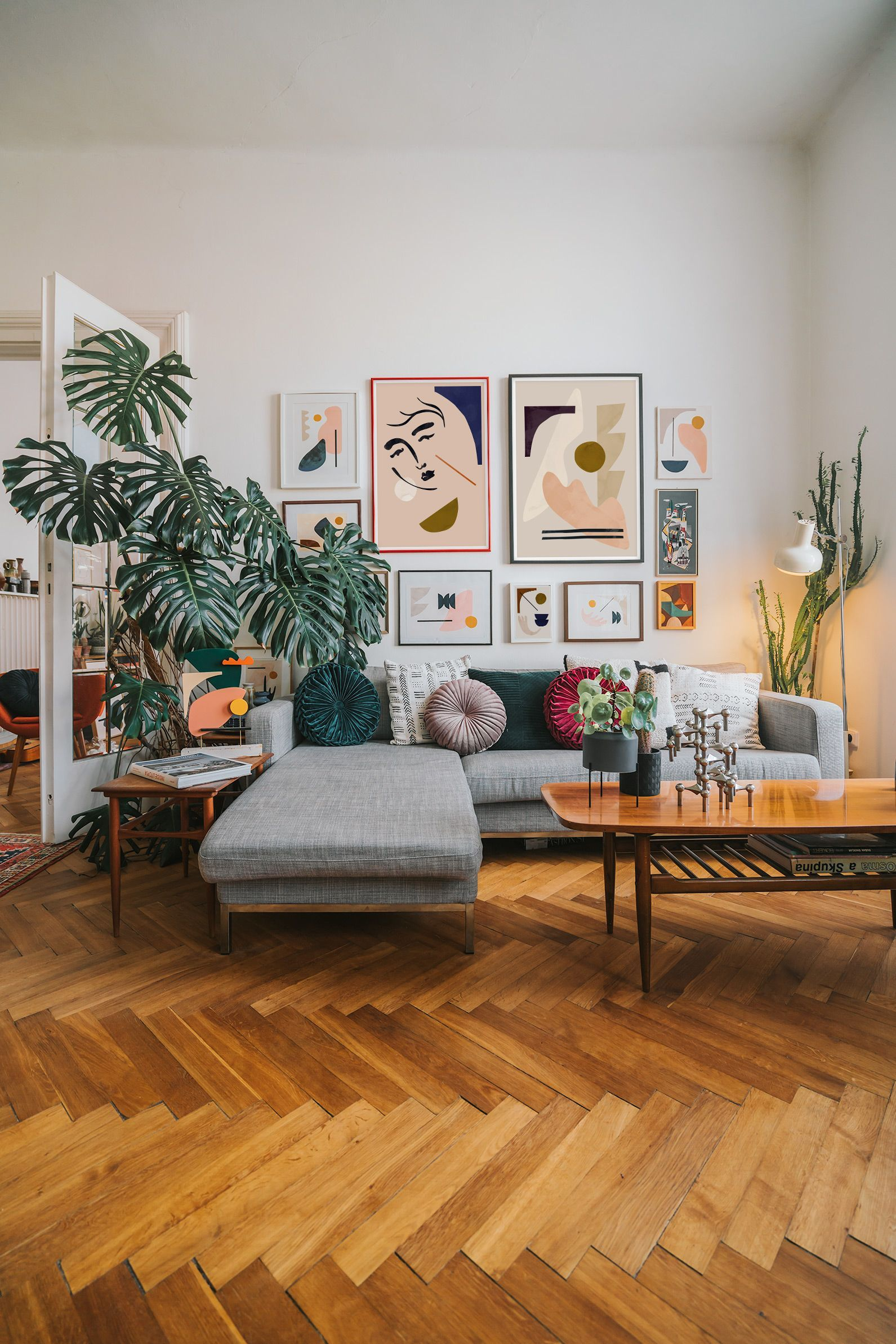 Modern Gallery Wall At Cozy Living Room Bohowohnen The Home Of Artist Jan Skacelik Home Decor Home Living Room Living Room Decor Living room surrealsim realism