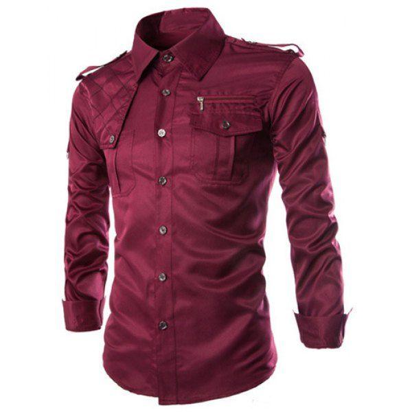 644860b3d29 Fashion Uniform Style Shirt Collar Fitted Epaulet and Zipper Design Long  Sleeve Polyester Shirt For Men