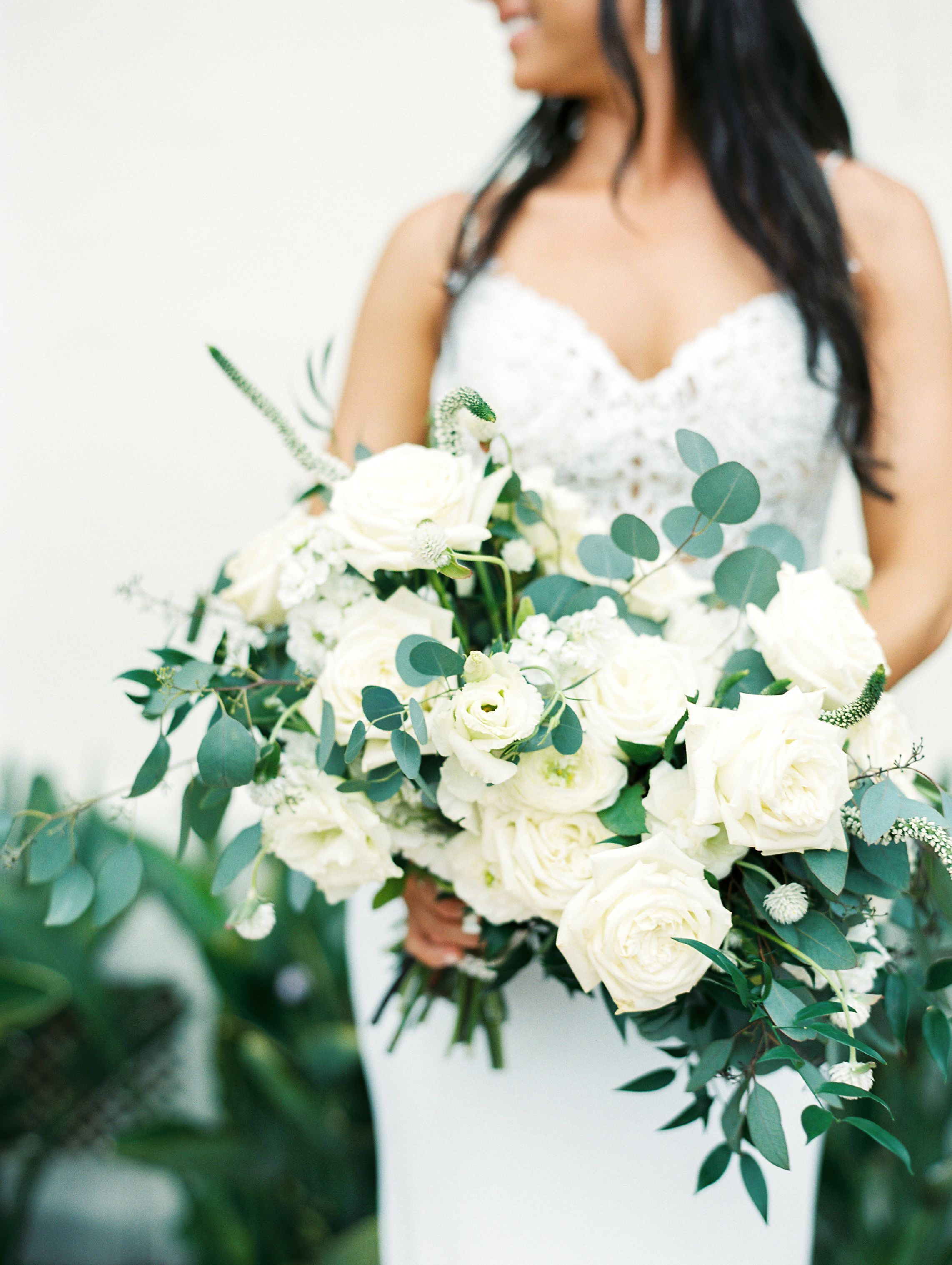 Green And White Bridal Bouquet White Roses Garden Roses