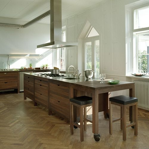 Kitchen, Inspiring Reclaimed Oak Dining Table With Kitchen Islands