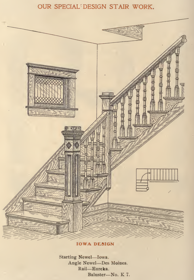 A Stair Design Option Called Iowa From A 1908 Adams Kelly