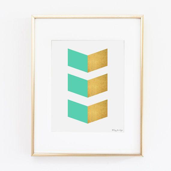 Wonderful Geometric Chevron Gold And Turquoise Printable Art | Office Decor | Nursery  Art | Pink Gray
