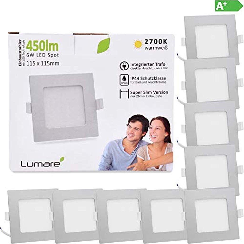 Lumare Led Einbaustrahler 6w 230v Ip44 Ultra Flach 9er Set Wohnzimmer Badezimmer Einbauleuchten Silber Quadrat Led Einbaustrahler Einbaustrahler Einbauleuchten