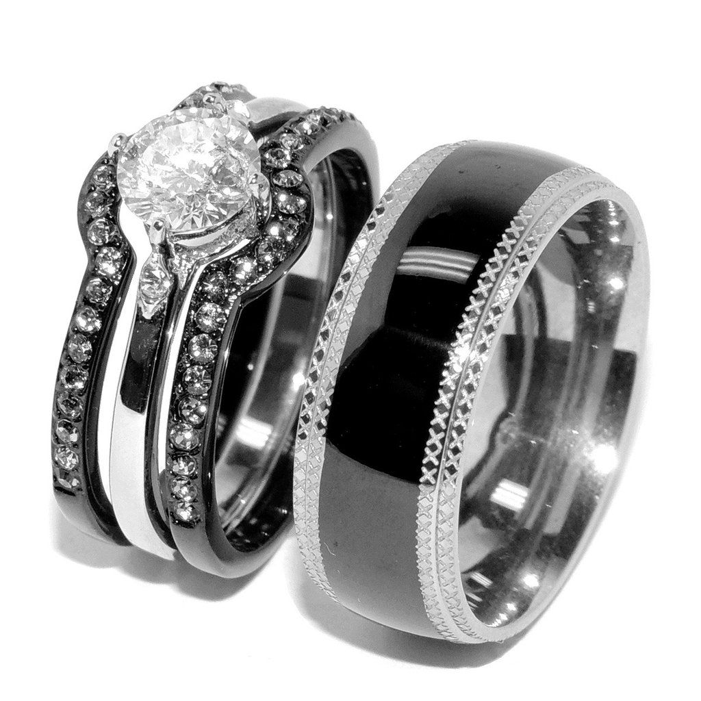 His Hers 4 PCS Black IP Stainless Steel Round Cut CZ