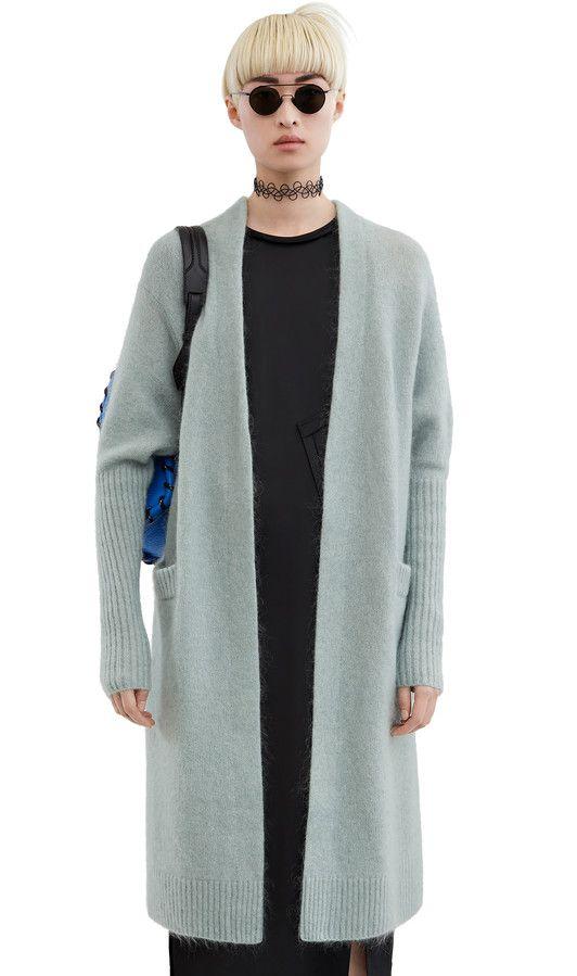 Acne Studios Raya Mohair Dull Jade Green Kimono sleeve cardigan ...