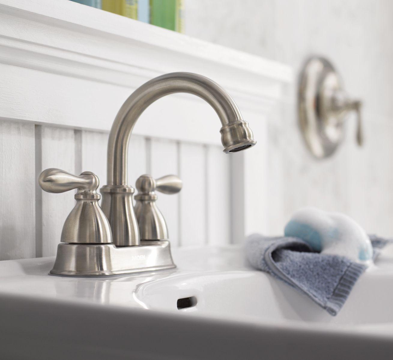 Moen Caldwell Spot Resist Brushed Nickel 2 Handle 4 In Centerset Watersense Bathroom Sink Faucet With Drain Lowes Com Sink Faucets Water Sense Moen [ 1202 x 1309 Pixel ]