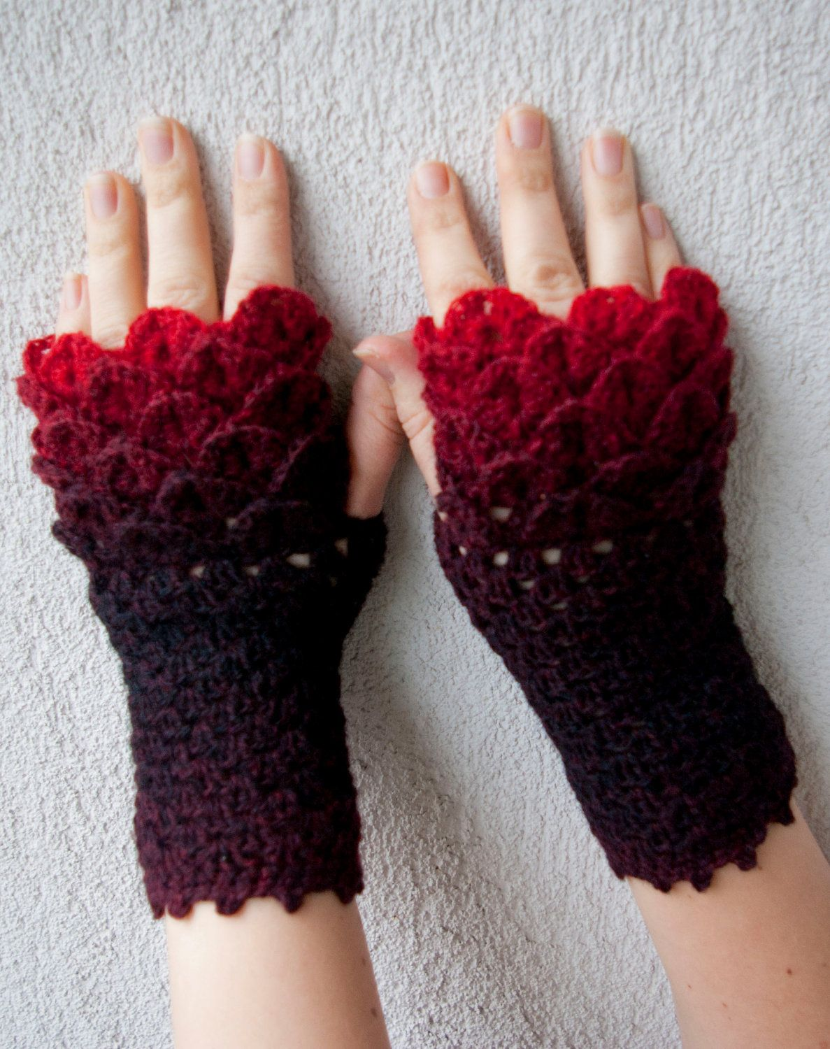 Crocheted crocodile stitch mittens fingerless gloves black and crocheted crocodile stitch mittens fingerless gloves black and red transitional spring accessories bankloansurffo Choice Image