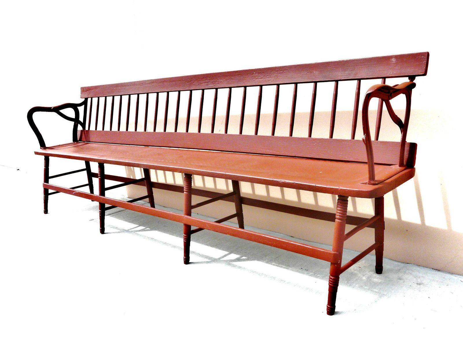 Superb Long Antique Train Depot Bench 2 Sides Center Platform Ibusinesslaw Wood Chair Design Ideas Ibusinesslaworg
