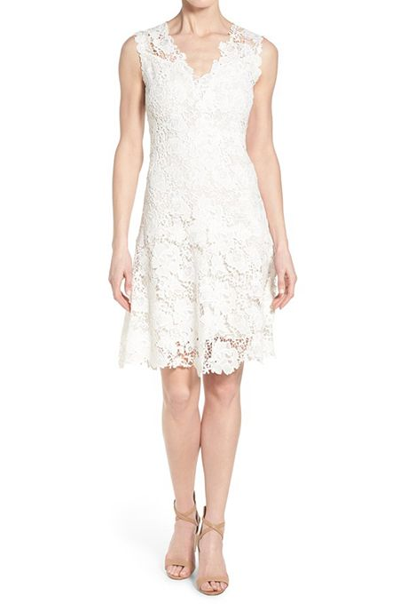 Samira Fl Lace V Neck Dress With Scalloped Edges 398 Elie Tahari Available At Saks Fifth Avenue