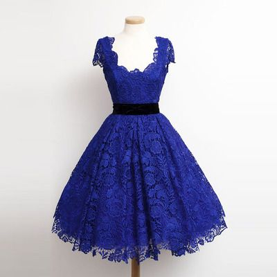 Charming Royal Blue Lace Cap Sleeve Prom Party Dresses Elegant Knee Length A Line Plus Size Celebrity Dresses Gala