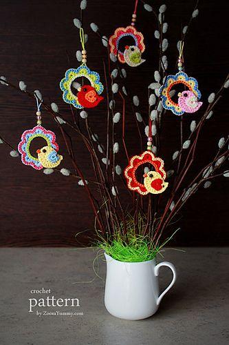 Photo of A Little Crochet Bird Sitting On A Wreath – Ornament
