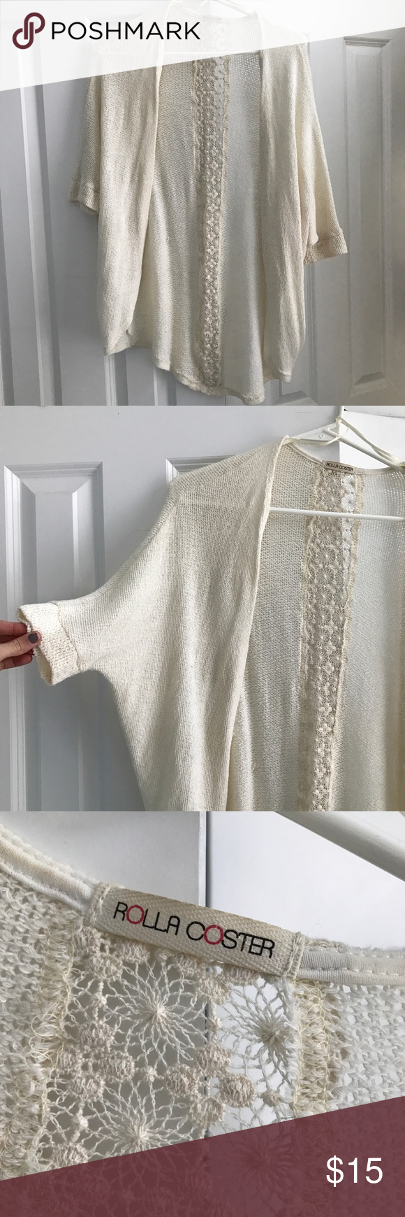 Knit cardigan Cream colored. Good condition. Medium. Would fit a small too. It's thin material. Sweaters Cardigans