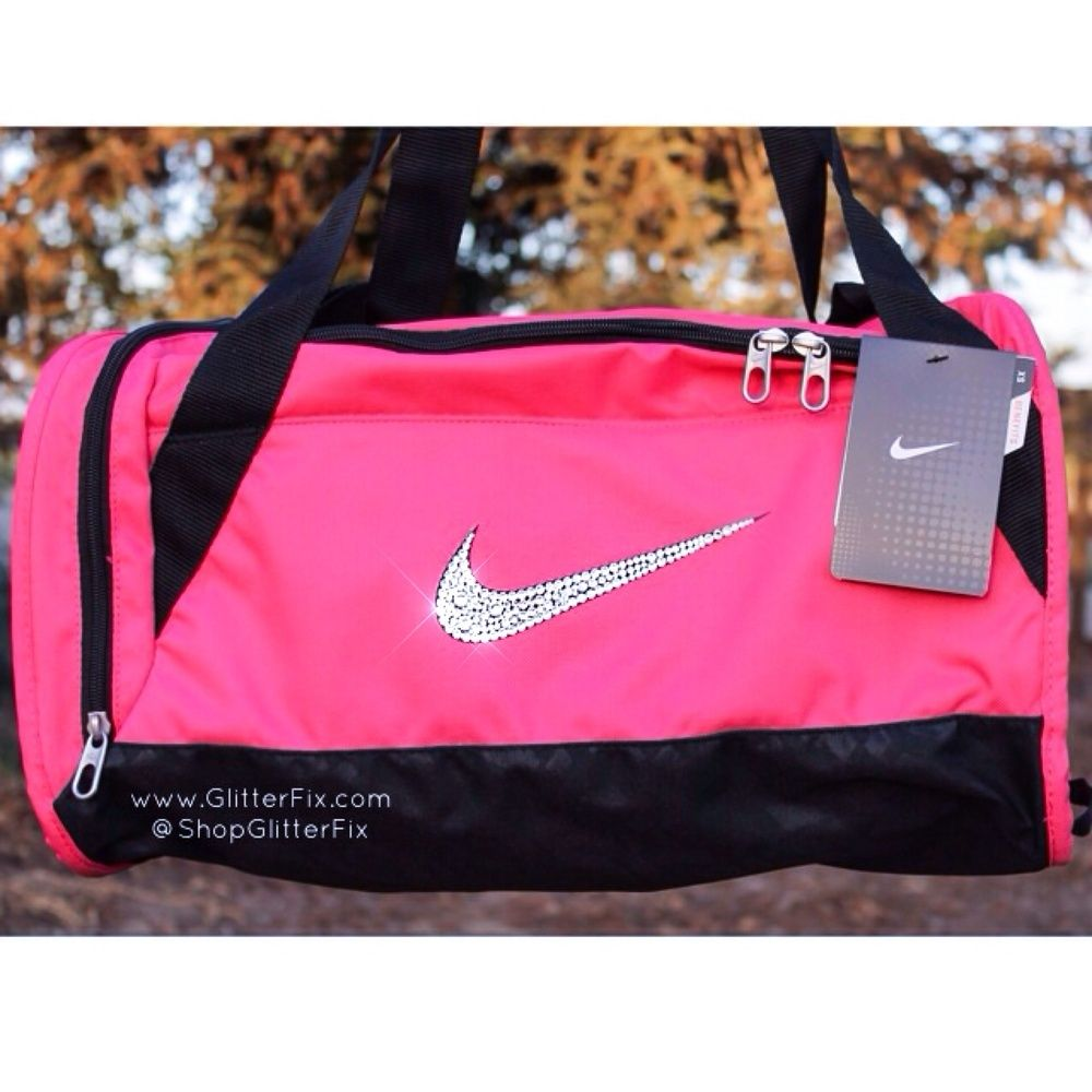 455ea0e9bee5 Customized Nike X-small duffel bag in Pink with Swarovski RhinestonesShips  in 2-3 weeks