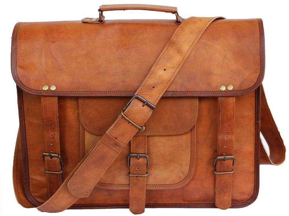"""Men/'s 15/"""" Genuine Vintage Leather Messenger Laptop Briefcase Satchel Bag Brown"""