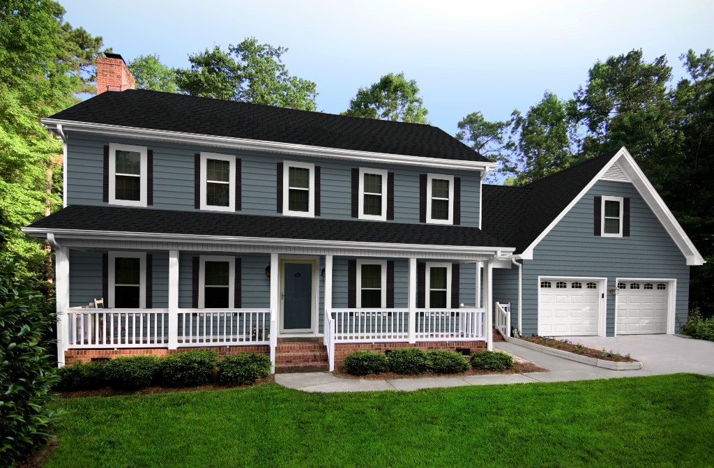 Best Stratford Blue Siding White Trim Black Roof House 400 x 300