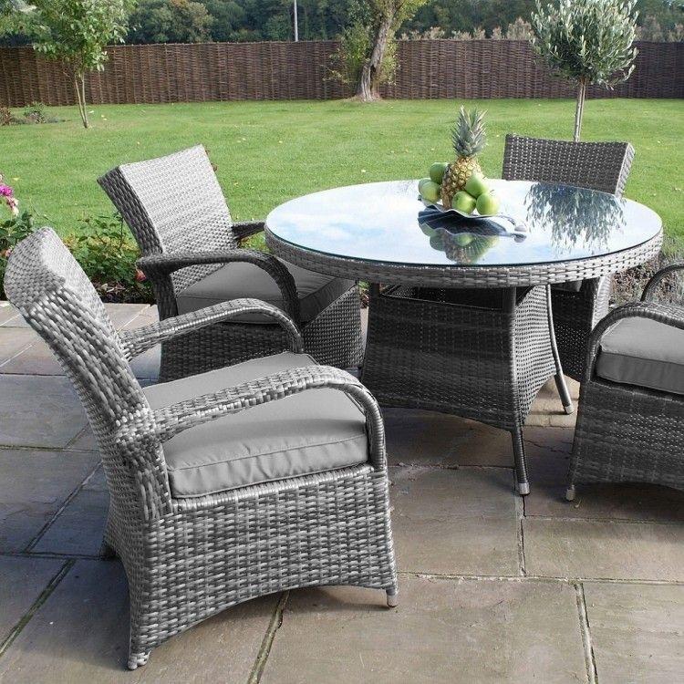 Maze Rattan Garden Furniture Texas Grey 4 Seater Round Table Set