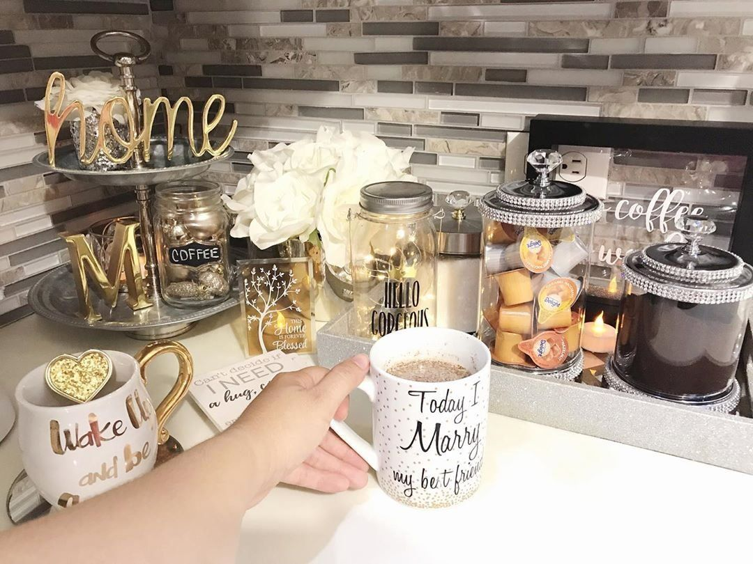"""Angelikmar Home Decor on Instagram: """"Coffee Time! Best part of the night! ☕️🌙🥰✨#showmeyourcoffeeplz #coffee #coffeetime #coffeebar #coffeestation #kitchendecor #glamkitchen…"""" 