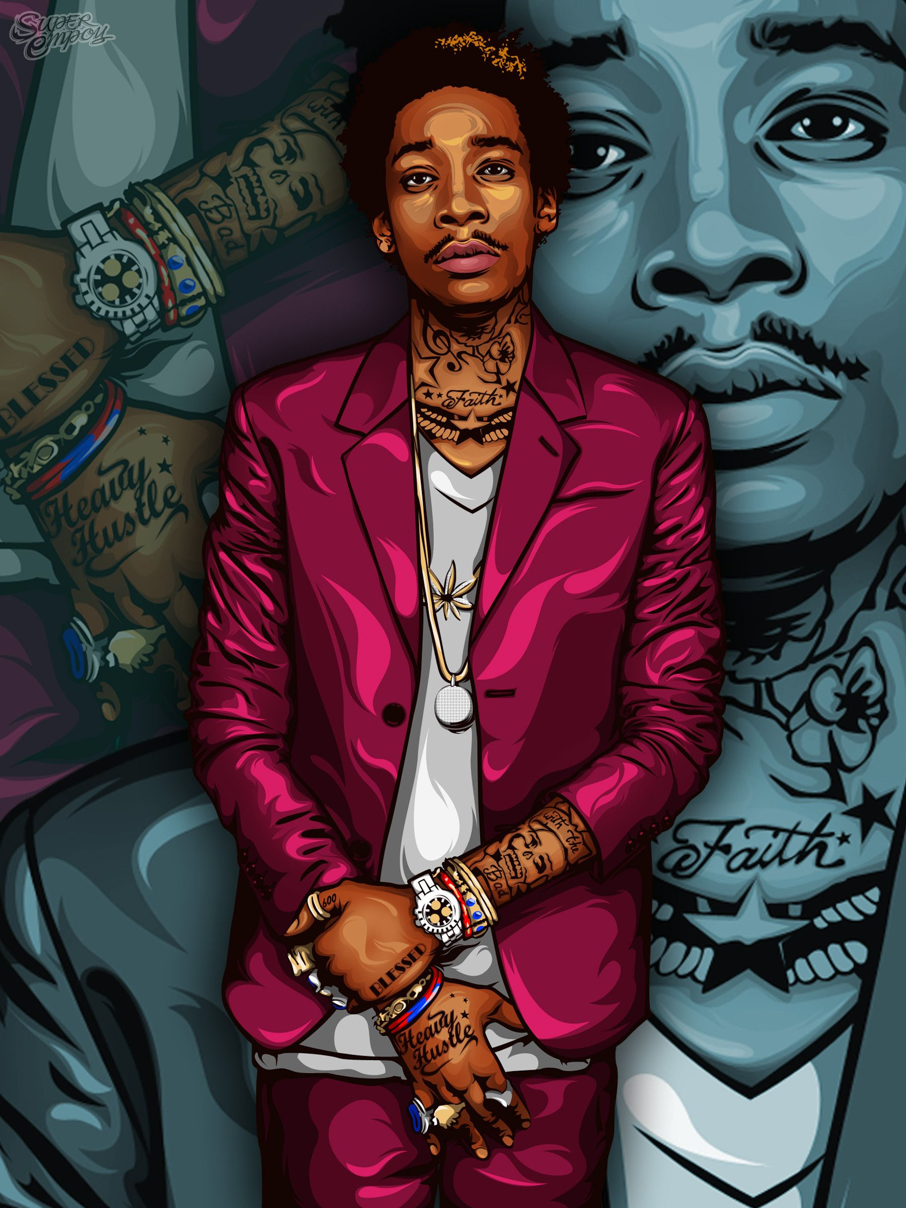 Image Jpg 1800 2400 Wiz Khalifa The Wiz Hip Hop Art