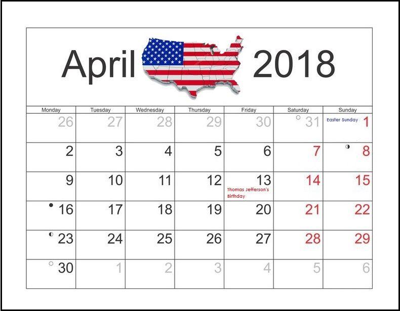 usa april 2018 holidays calendar template