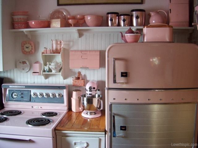 Pink Retro Kitchen Cute Home Vintage Inspiration Ideas Liances